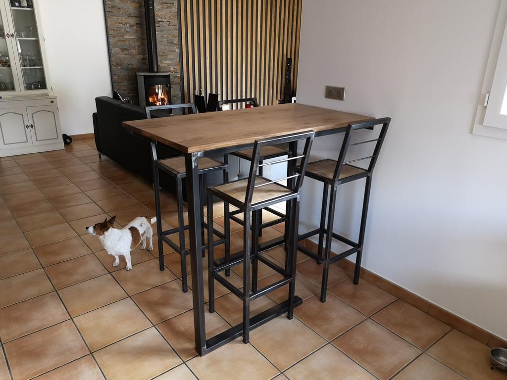 Table haute et tabouret Béarn Métal Design